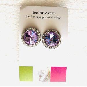 Purple crystal earrings, boutique jewelry NEW